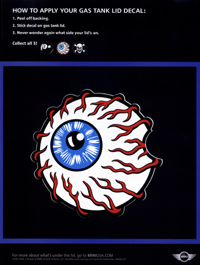 bloodshot eye gas tank lid decal ad