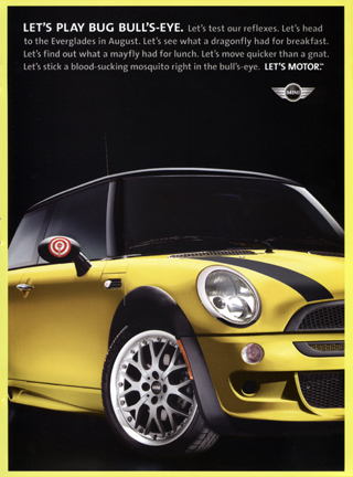Bug Bull's-Eye stickers ad (front)