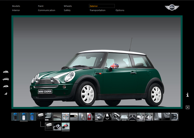 MINI Accessories Configurator screen (Cooper)