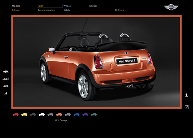 MINI Accessories Configurator screen (Cooper S Convertible)
