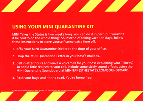 MINI QUARANTINE KIT instructions