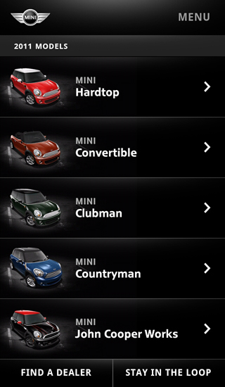 MINI USA mobile website 2011 Models