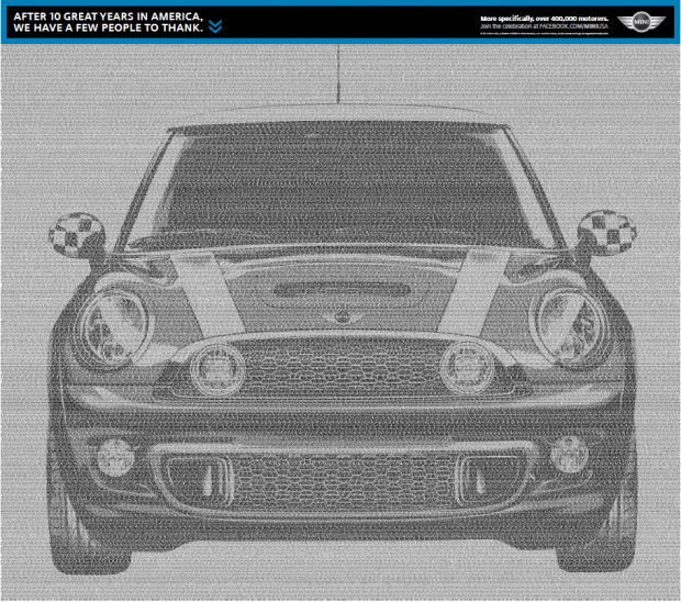 MINI USA 10 Years newspaper ad