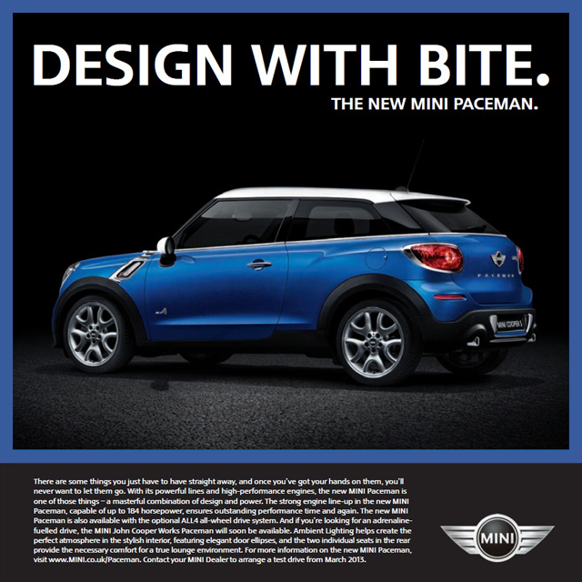 MINI Paceman UK specifications brochure
