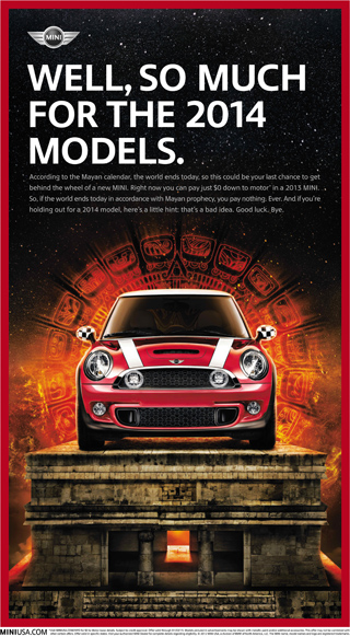 MINI USA Mayan calendar ad - December 21, 2012