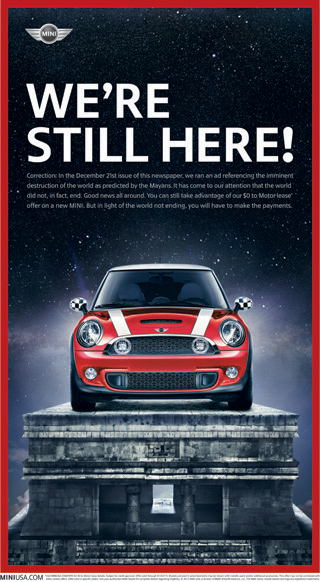 MINI USA Mayan calendar ad - December 22, 2012