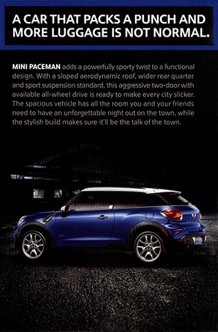 MINI model year 2013 pocket brochure (Paceman)