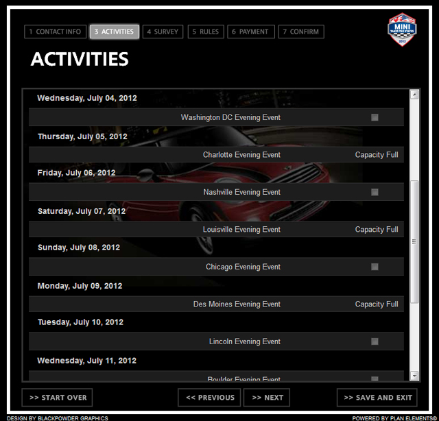 MINI Takes the States 2012 Activities screen