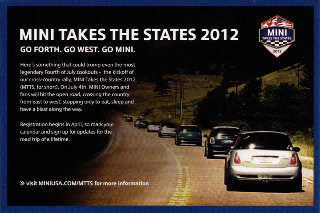 MINI Takes the States 2012 postcard (front)