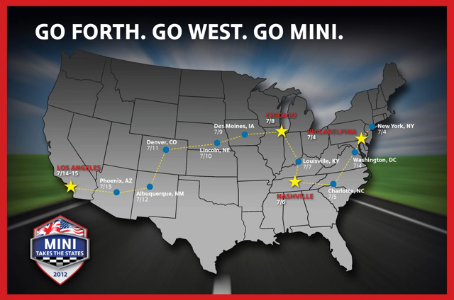 MINI Takes the States 2012 route