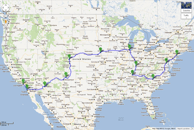 MINI Takes the States 2012 route (unofficial)