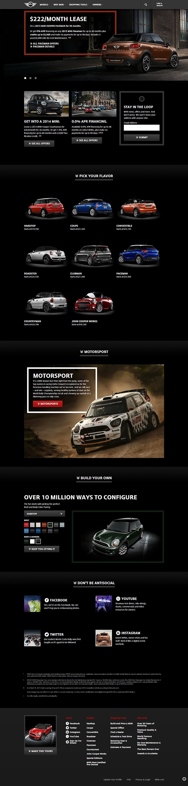 MINI USA website redesign 2013 (all)