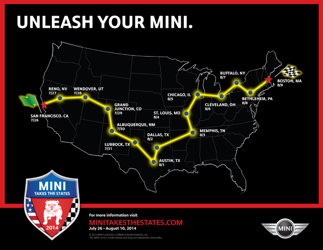 MINI Takes the States 2014 map