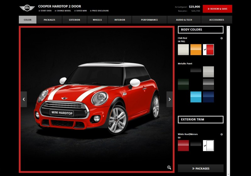 MINI USA Configurator Hardtop with JCW Exterior Package