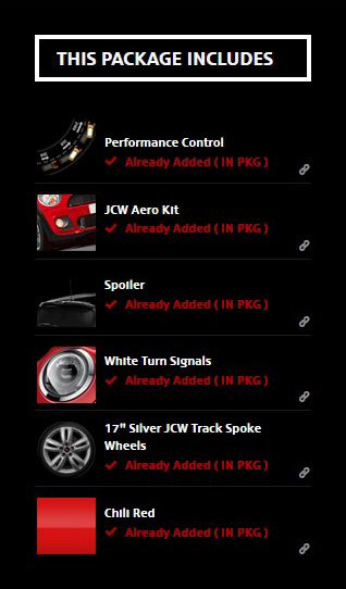 MINI USA Configurator JCW Exterior Package Includes