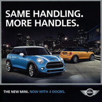 SAME HANDLING. MORE HANDLES. THE NEW MINI. NOW WITH 4 DOORS.