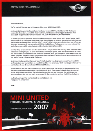 MINI United 2007 Starter Kit letter