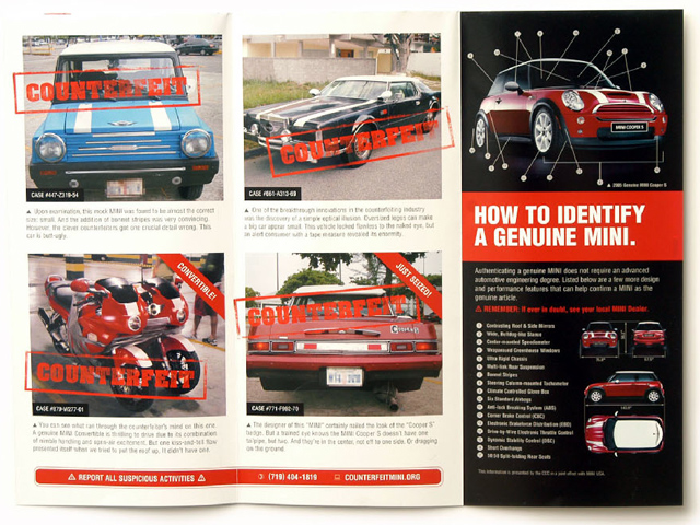 COUNTERFEIT MINI COOPERS brochure (inside)