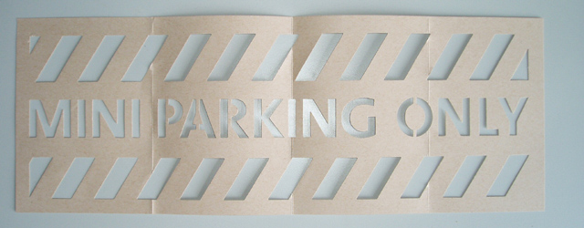 MINI PARKING ONLY stencil