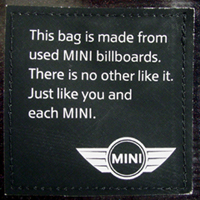 MINI recycled billboard bag label