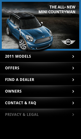 MINI USA mobile website homepage