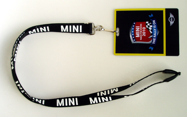 MINI Takes the States 2010 badge and lanyard