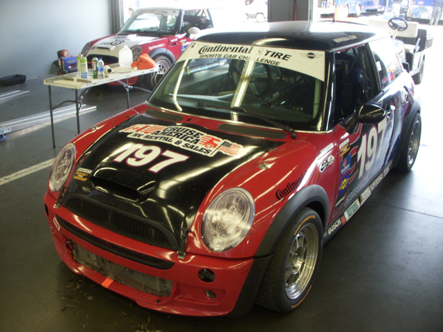 RSR Motorsports MINIs in the garage at Daytona 2010