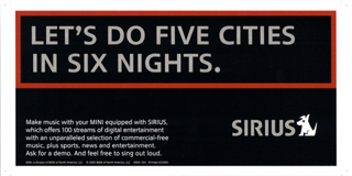 SIRIUS bumper sticker LET'S DO FIVE CITIES IN SIX NIGHTS.