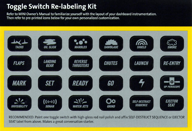 Toggle Switch Re-Labeling Kit