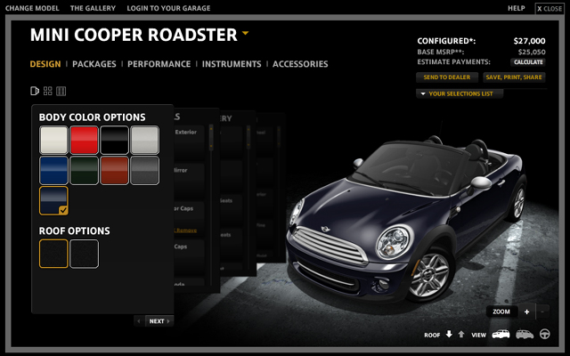 MINI USA Configurator 2012 Reef Bue Roadster