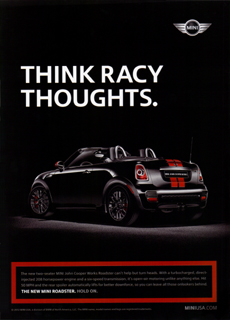 THINK RACY THOUGHTS. print ad