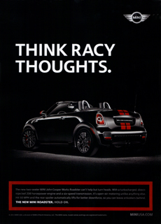 THINK RACY THOUGHTS. print ad (version 2)