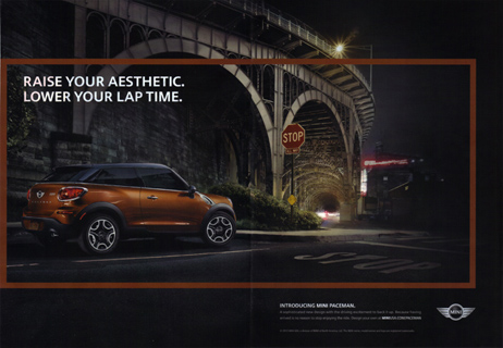 RAISE YOUR AESTHETIC. MINI Paceman print ad (2 page)