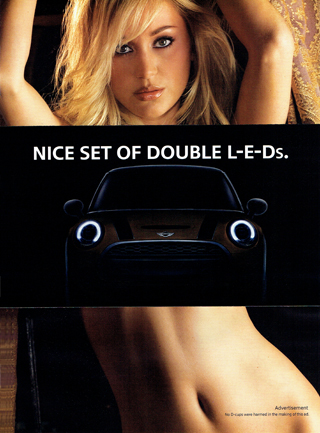 NICE SET OF DOUBLE L-E-Ds. print ad (front)